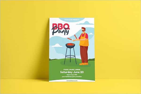 Modern BBQ Flyer Templates PSD Design