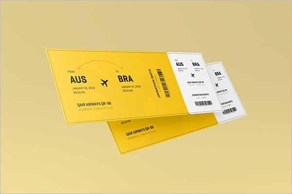 Modern Ticket Mockup PSD Template