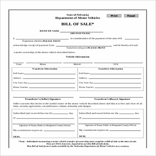 Modern Vehicle Bill Of Sale Templates