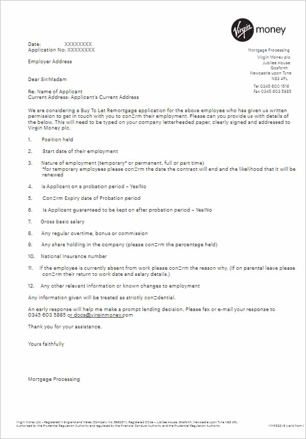 Mortgage Employment Reference Letter