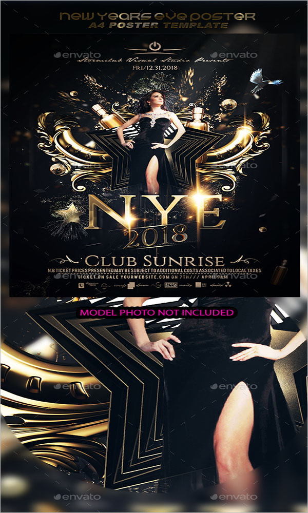 New Years Club Eve Poster Template