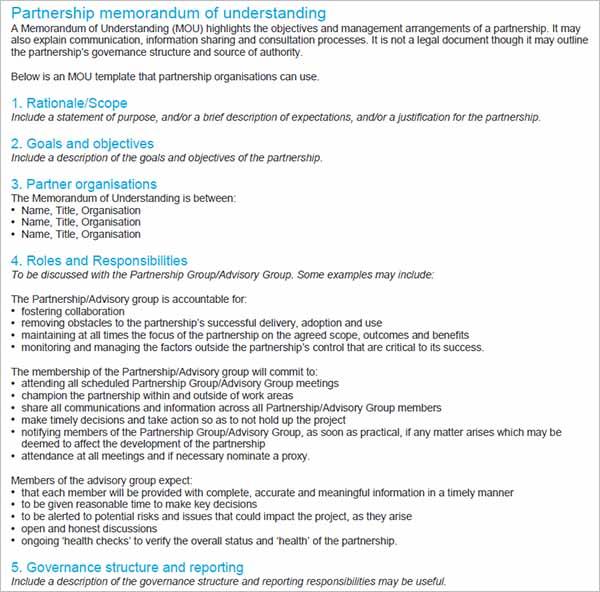 Partnership Memorandum Of Understanding 1