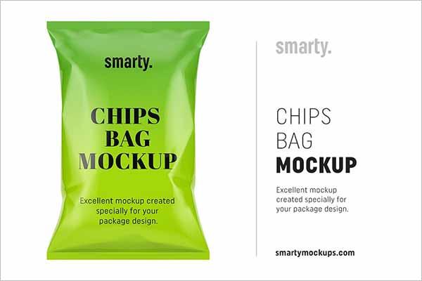 PopularChips Bag Mockup Design