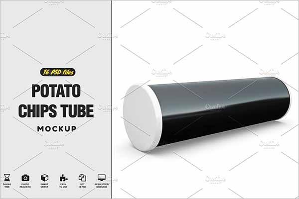 Potato Chips Tube Mockup Design