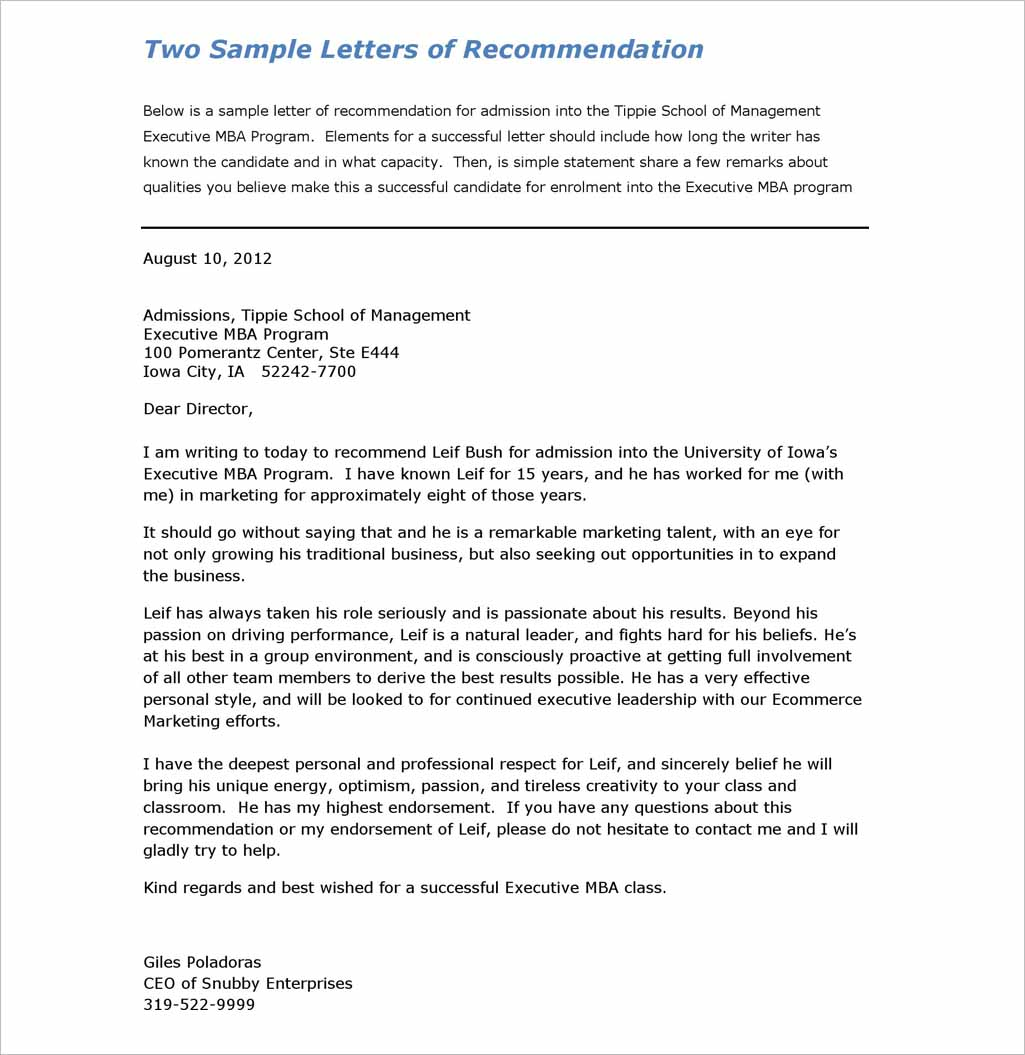 Recommendation Letter Download
