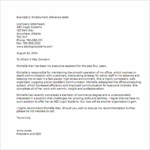 Reference Letter From Job