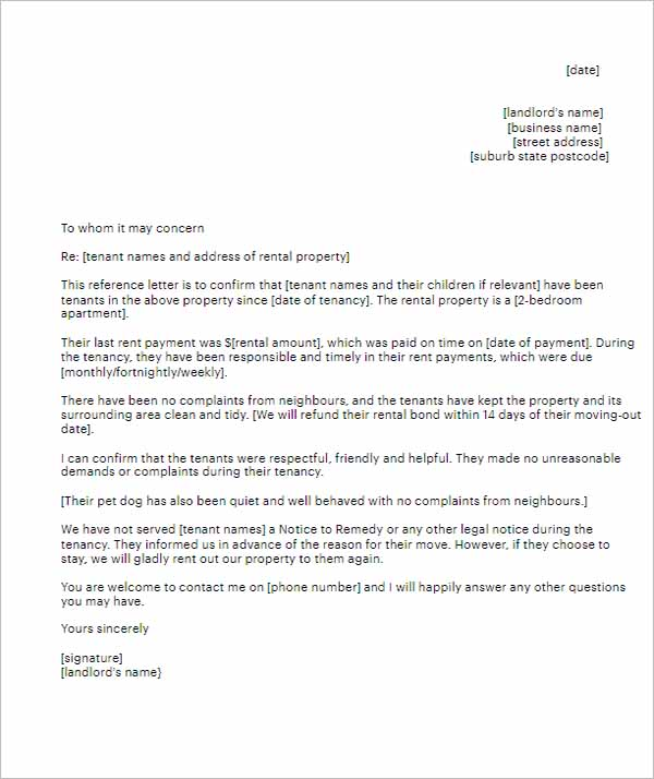 Reference Letter From Landlord