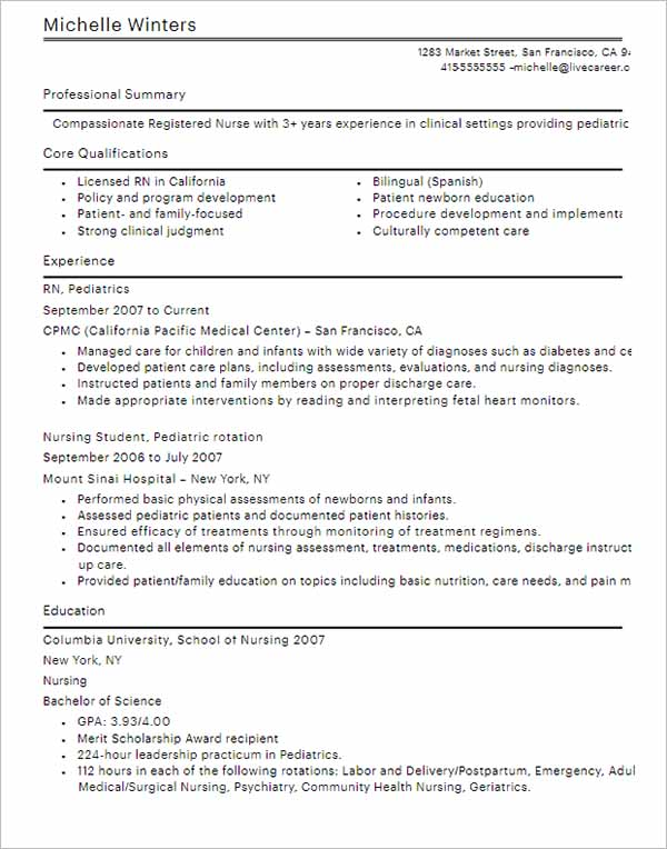 Resume Outline Sample