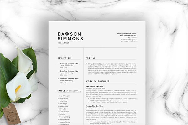 Resume Template Page