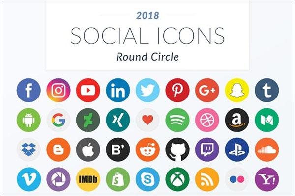 Round Circle Social Icons