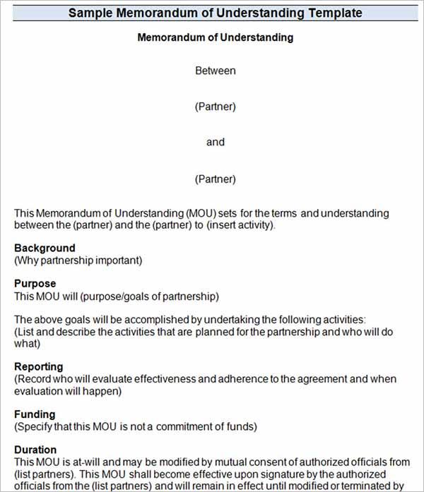 7 Memorandum Of Understanding Templates Free Word Pdf Formats