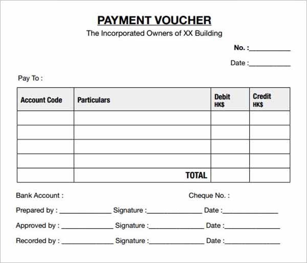 Sample Payment Voucher Templates