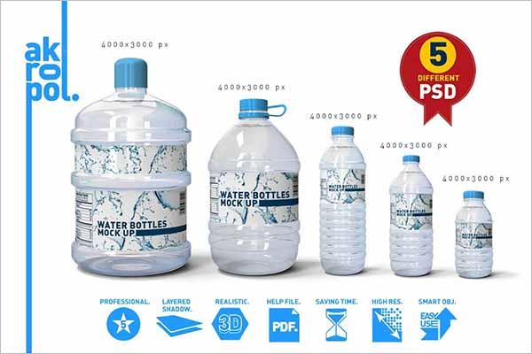 Unique Water Bottle Mockup Set