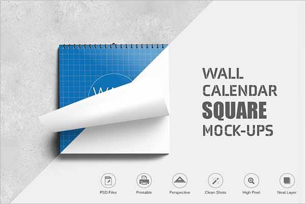 Wall Calender Mockup Template