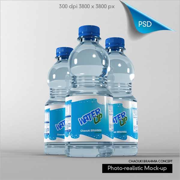 Water Bottle Mockup Free PSD Template