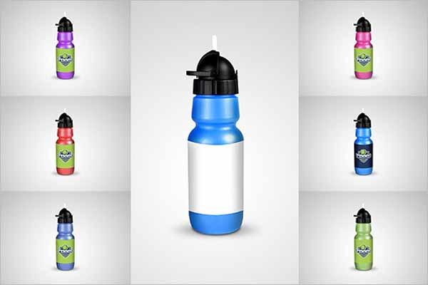 Water Bottle Mockup With Label Design