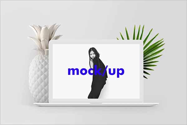 White MacBook Mockup Design