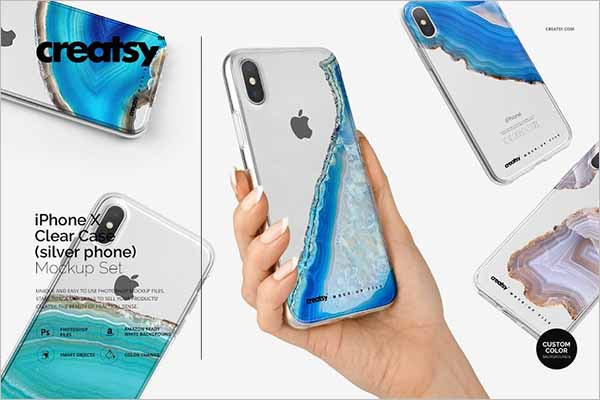 iPhone X Clear Case Mockup Design
