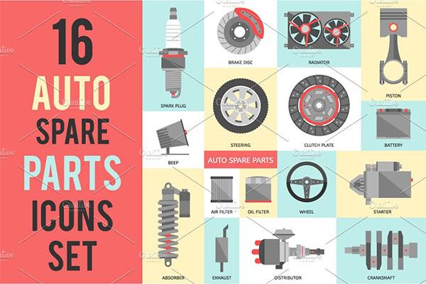 Auto Garage Spare Parts Set