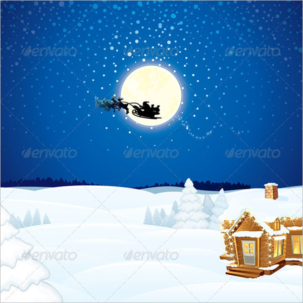 Christmas Scene with Santa Sleigh