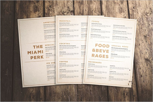 Creative Menu Templates