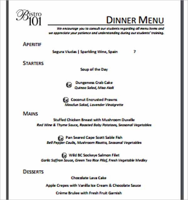 Download Dinner Menu Template
