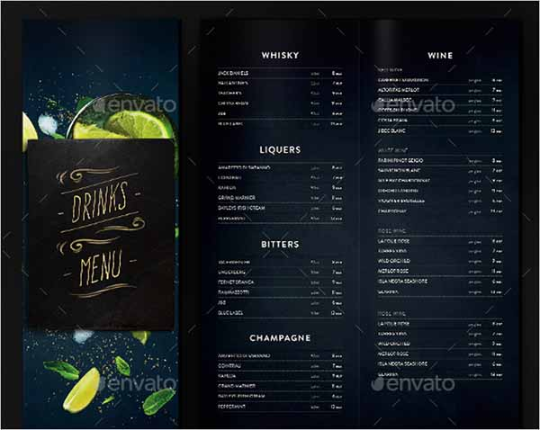 Drinks Menu Template