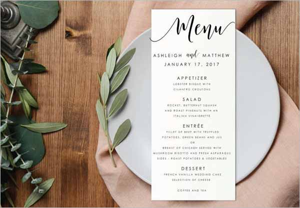 Editable PDF Wedding Menu Template