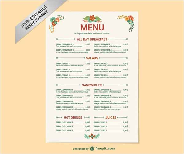 Editable Restaurant Menu Free Template