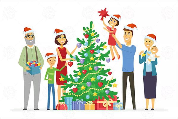 Family Decorates Christmas tree Decorations