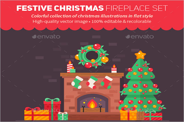 Festive Christmas Fireplace Drawing
