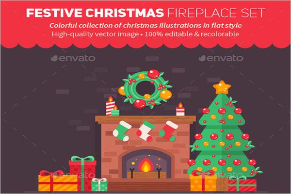 Festive Christmas Fireplace Drawing