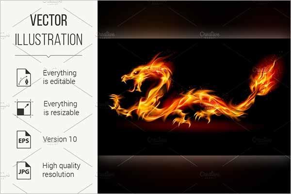 Fire Dragon Rigged Design