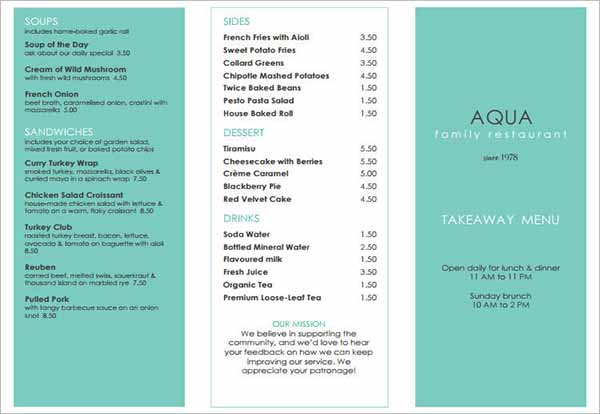 Free Menu Template Download