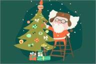 Funny Santa Claus with Christmas Decorations