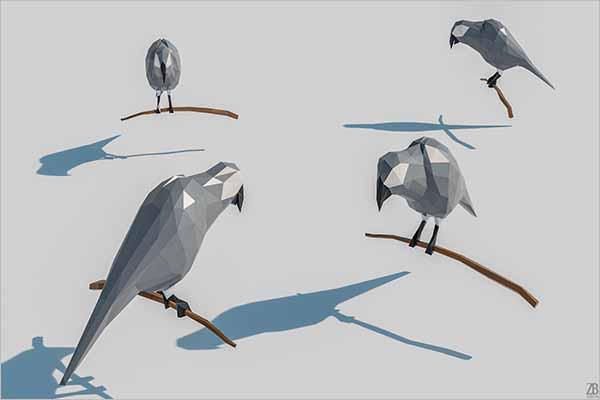 Lowpoly Parrot 3D Design