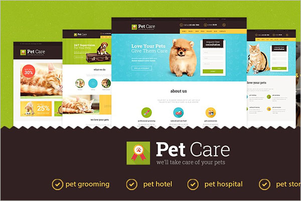 Pet Care Website Templates
