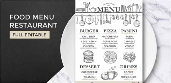 Printable Resturant Menu Template