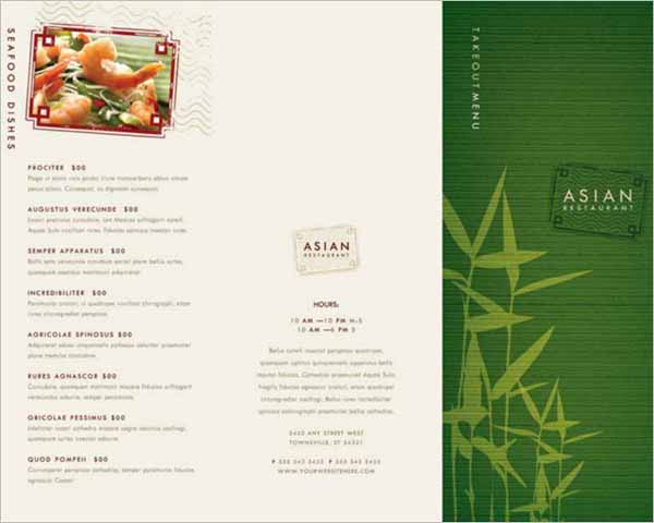 Restaurant Takeout Menu Brochure Template