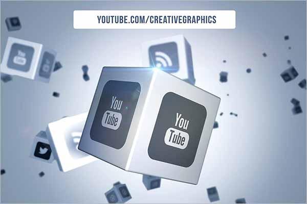 Social Media Cubic 3D Object