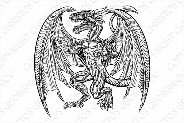 Vintage Dragon 3D Design