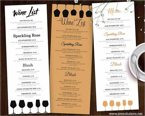 Wine List & Wine Menu Template
