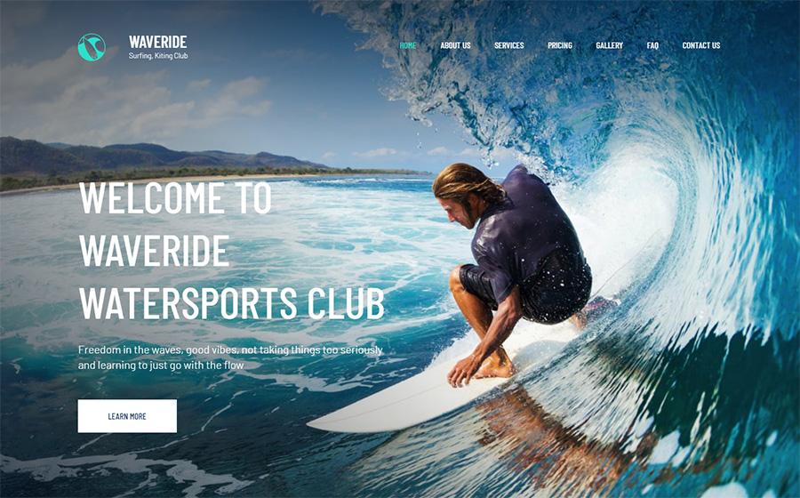 Waveride - Surfing Club Moto CMS 3 Template