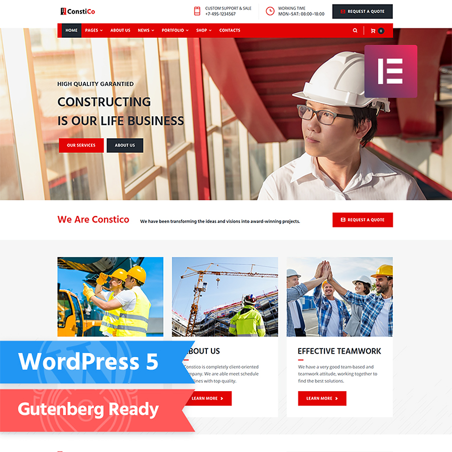 Constico - Construction Elementor WordPress Theme