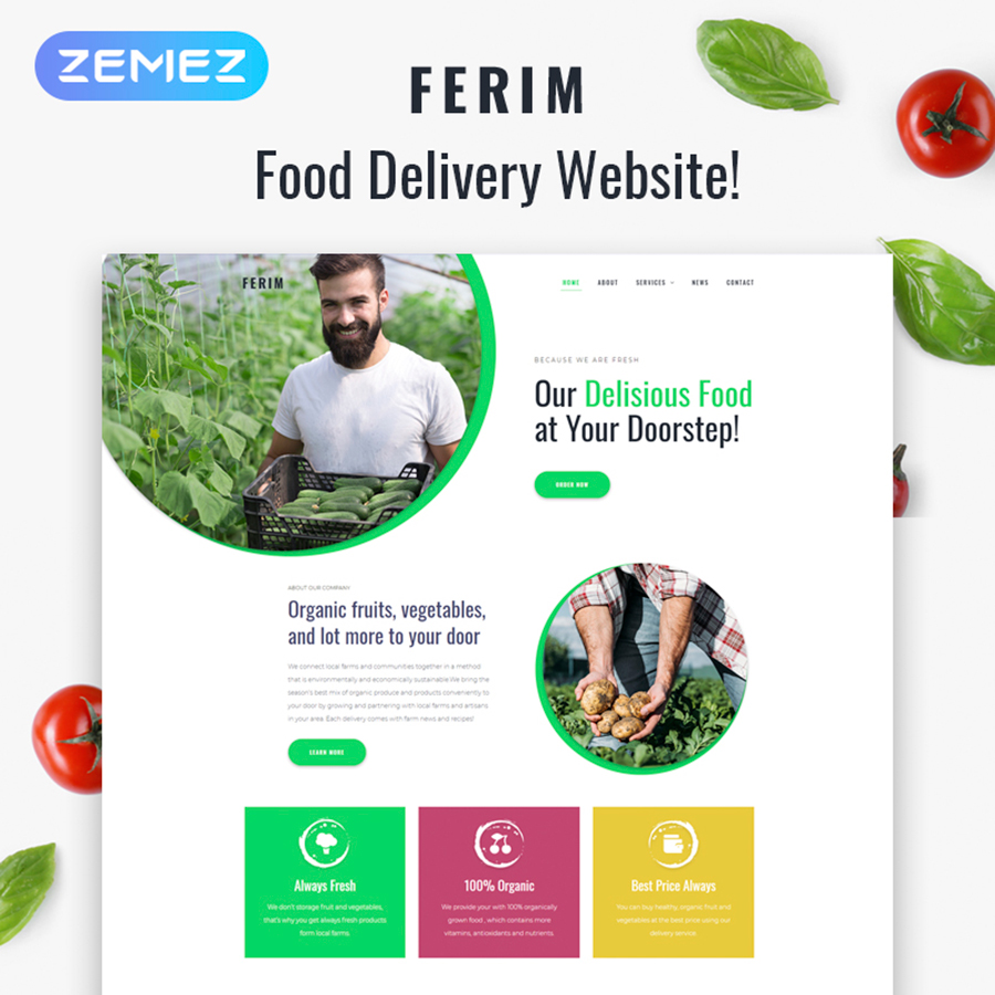Ferim - Food Delivery Multipurpose Minimal Elementor WordPress Theme