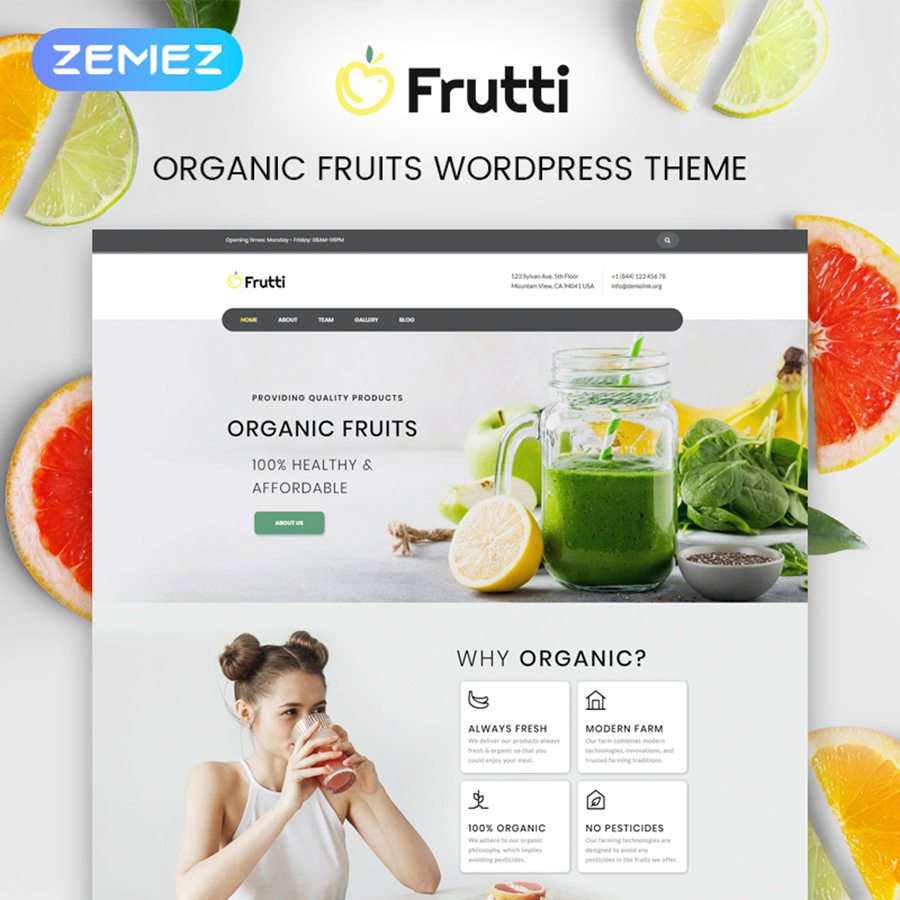 Frutti - Organic Food Multipurpose Classic Elementor WordPress Theme