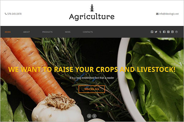 Agriculture One Page Template