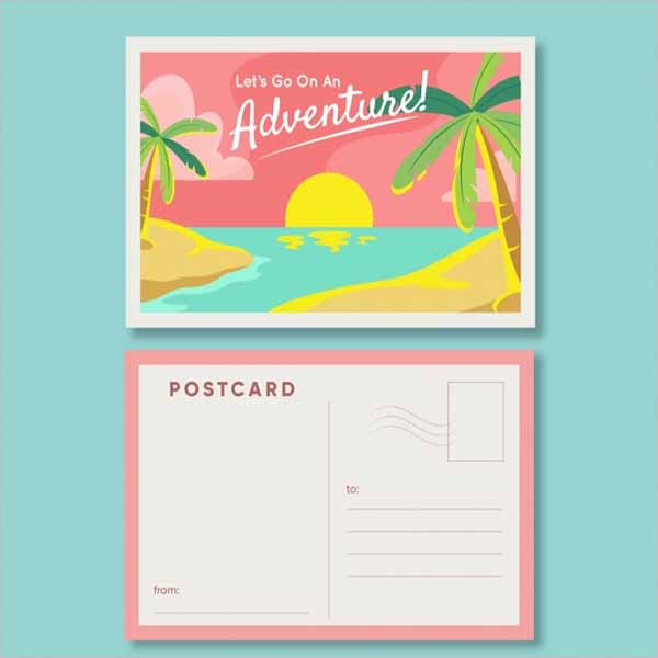 Beach Holiday Postcard Design