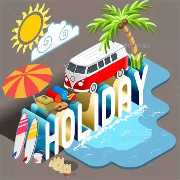 Christmas Holiday Postcard Template