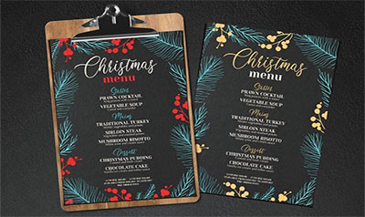 Christmas Party Menu Design Templates